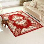 carpeta indiana alb cu rosu pentru living cu gresie alba